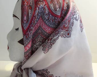 Large square paisley scarf white with red, black and pink