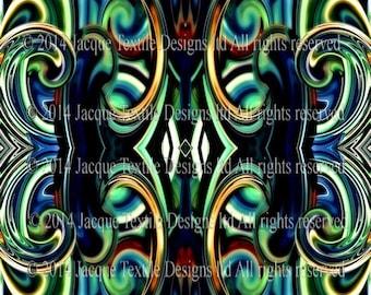 Green Blue Handmade Artist Made Fiber Art Home Decor Lightning Cotton Canvas Upholstery Fabric By The Yard