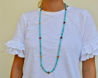 Turquoise with cold crosses necklace - long