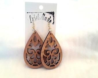 Wood Earrings (Cherry wood )