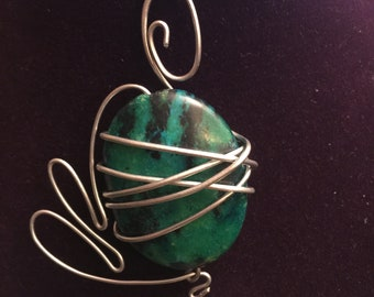 Turquoise Wire wrap pendant