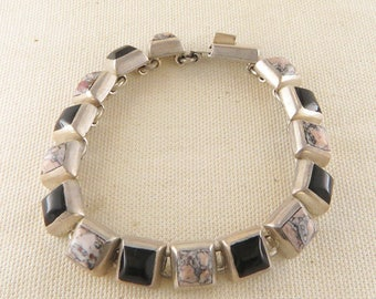 Mexican Sterling Silver Stone Link Bracelet, Pink and Black Stones