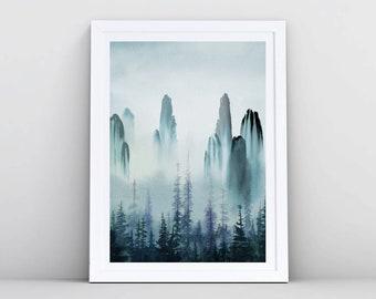 Forest Print, Mountain Print, Abstract Painting Navy Blue Watercolor Print, Indigo Wall Art, Watercolour Printable, Dark Blue Large Wall Art