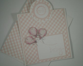 Baby Girl Card, Baby Shower Card, Baby Girl Congratulations, Welcome Baby Card, Baby Girl Shower Card, Handmade Baby Girl Card, Pink Gingham