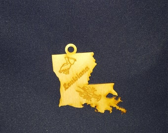 Louisiana state ornament laser cut wood