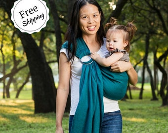 Bibetts Pure Linen Ring Sling Baby Carrier 'Teal' - CPSIA compliant - Infant, Toddler and Baby Carrier