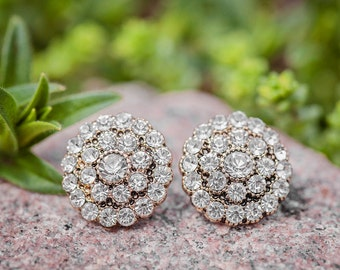 Vintage Crystal Button Earrings, Vintage Crystal Earrings, Vintage Gold Crystal Earrings, Vintage Bridal Earrings, Vintage Prom Earrings