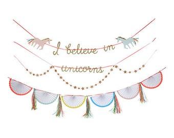 Unicorn Garland, I Believe in Unicorns Banner