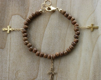 Wood Beaded Bracelet, Gold Cross Charm Bracelet, Boho Layering Bracelet