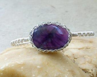 Silver cuff bracelet,ARTISAN WIREWORK bracelet,purplefluorite bracelet,wirewrap dainty bracelet,contemporary gemstone bracelet by magyartist