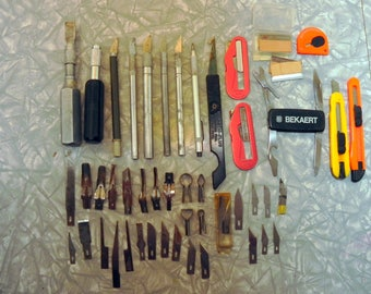 large lot of Exacto knives, blades and tools