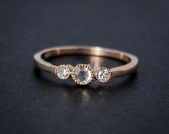 Rose Gold Diamond Ring - Rose Cut Diamond - Non-Traditional Engagement Rings