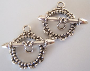 2 - Antiqued Silver Plated Scalloped Toggle