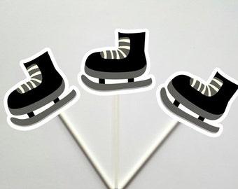 Hockey Cupcake Toppers, Hockey Skate Cupcake Toppers