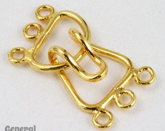 10mm Gold Tone Hook and Eye Clasp Set with 3 Loops #CLG110