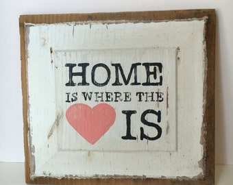 Home Is Where The Heart Is Sign Hand-lettered on Reclaimed Barn Wood