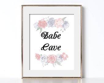 Motif Floral imprimé amusant téléchargement numérique imprimable Art Babe Cave beau Design féminisme imprimé aquarelle Girl Power Wall Art imprime cuisine