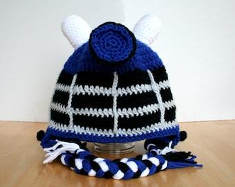 Adult Dalek Hat, Adult Halloween Costume, Robot Hat, Doctor Who inspired crochet Dalek Hat, Adult sizes