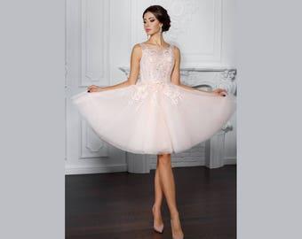 Short wedding dress - dress wedding white or pastel color chiffon lace custom diligently handmade France