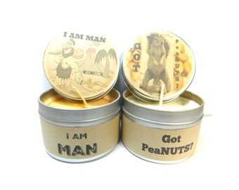 Got peaNuts & I Am Man - Set of Two 4 ounce soy tin candles - take them anywhere!