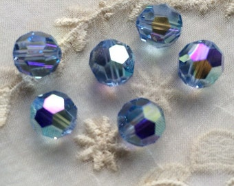Rare Crystal Beads Vintage Swarovski Crystal Beads, 9mm Art 5000 Corona Lt Sapphire AB Crystal Bead Vintage Swarovski Beads Jewelry Making 8