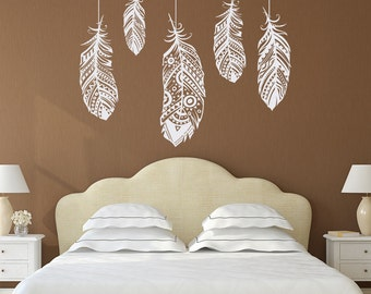 Feather Wall Decal- Feather Decor- Bohemian Bedroom Decor- Boho Bedroom Decor- Tribal Pattern- Forest Wall Decal- Wall Decal Bedroom 100