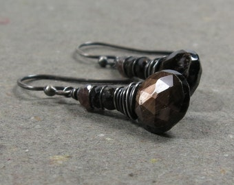 Chocolate Brown Sapphire Earrings Gemstone Stack Oxidized Sterling Silver Gift for Her