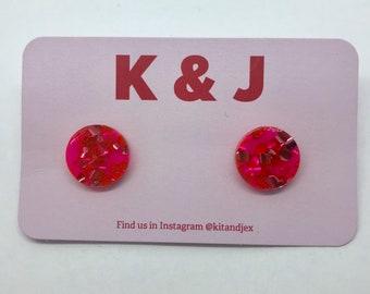 Pink & Red Glitter Studs