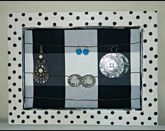 Frame jewelry holder with effect Shabby chic and polka dot