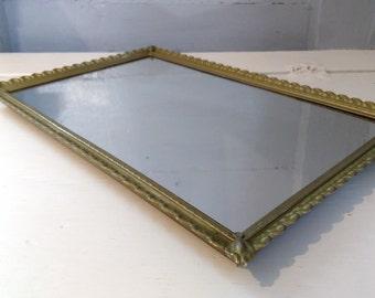 Vintage, Mirror, Mirror Tray, Vanity Mirror, Large, Rectangle, Gold, Metal, MidCentury, Hollywood Regency, RhymeswithDaughter