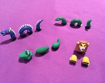 3-pc 3D Shoe Charms for Crocs, Silicone Bracelet Charms, Party Favors, Jibbitz (Dragon, Crocodile, Snake & Lion)