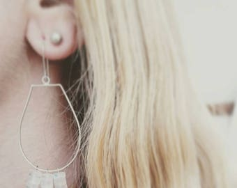 Moonstone hoop drop earrings. Minimalist Moonstone silhouette earrings. Delicate sterling silver moonstone earrings.
