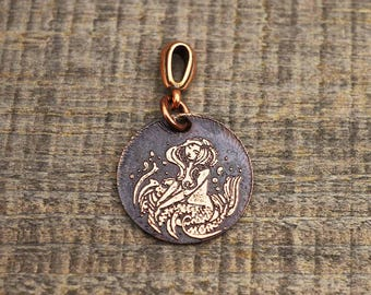 Small copper mermaid pendant, round etched jewelry, optional necklace, 22mm