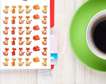 Cute Foxes Planner Stickers   Animal Stickers   Fox Stickers   Cute Foxes (S-077)