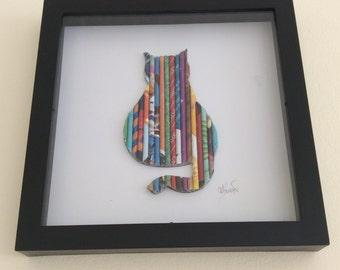 Katze-Wand-Kunst, Geschenke für Katzenliebhaber, Kitty Cat-Thema, Leinwände, Shadowbox, Paw Kitty besteht aus Upcycled Zeitschriften, bunt, einzigartiges Geschenk