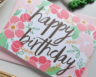Happy Birthday, Happy Birthday To You, Birthday Card, Stationery, Girl, Illustration, Notecards, Greeting Card, Flowers, Girlfriend