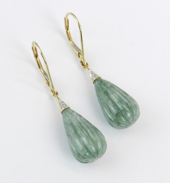 14K Yellow Gold Carved Jade and Diamond Dangle Drop Earrings Leverback Unique Gift