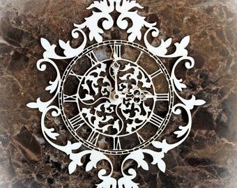 Reneabouquets Beautiful Board Ornate Flourish Clock Laser Cut Chipboard Double Side Vintage White Coated In Size Large, Medium or Small