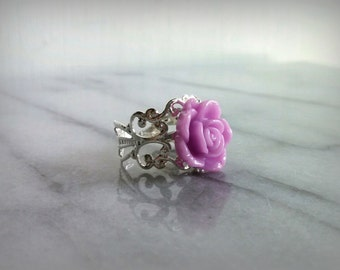 Lavender Rose Ring, Vintage Inspired, Adjustable Band, Gift for her, Womens, Teens, Jewelry, by ktnunna