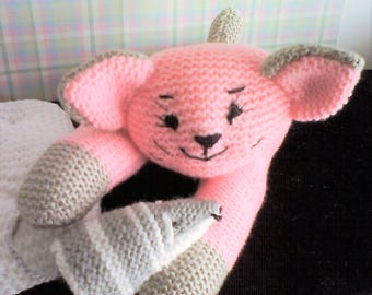 Plush cat SNIPS in pink and gray mouse