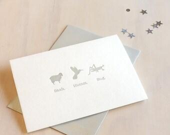 Funny Christmas card, Funny Holiday card, letterpress, Bah Humbug. Baah, humm, bug. punny card, humourous card, sheep, humming bird, insect