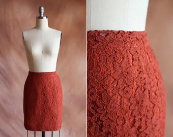 orange rouille Vintage 1960 taille haute crayon mini jupe en dentelle / taille m