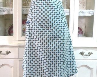Womens Apron, Vintage Handmade Half or Waist Kitchen Apron, Cotton Print with Blue and Gold, Ric Rac Trim, Vintage Linens