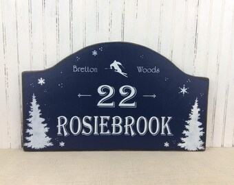 Personalized Ski House address sign, Winter Cottage decor, Ski address marker, Custom Cottage sign, Rustic Mountain sign, Christmas gift,