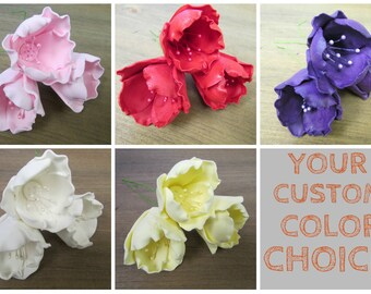 """5 Gumpaste Tulips 1-1/2"""" - White Red Pink Purple Red Yellow or Custom!! Fondant Edible Wedding Cake Toppers :)"""