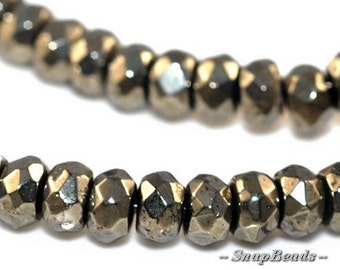 Palazzo Pyrite Gemstones Micro Faceted Rondelle 4X3MM Loose Beads 16 inch Full Strand (90107039-147)