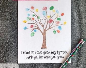 DIY Fingerprint Tree - Fingerprint Tree - Thumbprints Tree - Fingerprint Art - Printable Preschool Gift - Tree for Fingerprinting