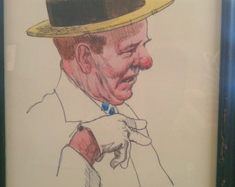 """Vintage Movie Star Drawing """"WC Fields"""" Framed Picture Mid Century"""