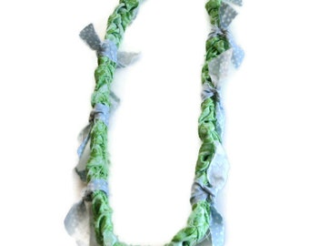 Blue Green Braided Fabric Necklace