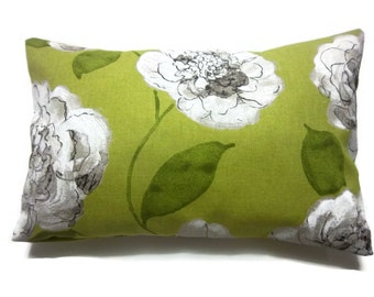 Decorative Pillow Cover Bold Floral Design Lumbar Green Chartreuse Linen Brown Same Fabric Front/Back Toss Throw Accent 12x18 inch x